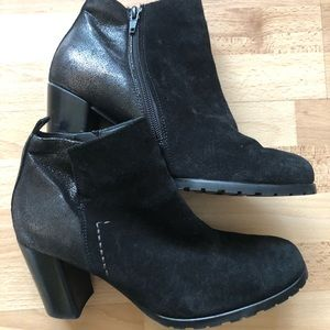 Paul Green Black Suede Leather Boots 8 Medium